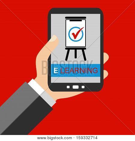 Hand holding Smartphone: E Learning - Flat Design