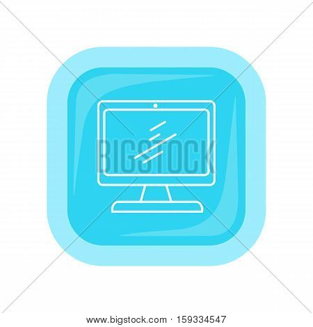 Computer icon button isolated on white. Desktop computer symbol. PC Icon in trendy flat style. Computer symbol for your web site design, logo, app. Modern computer equipment silhouette. Vector