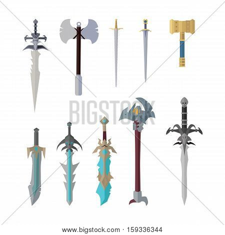 Set of fantastic game weapon vector models. Flat design. Fairy cold weapon collection, sword, hummer, ax illustrations for game industry concepts, icons and pictograms. Isolated on white background.