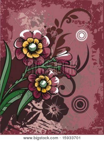 Serie de fondo Grunge floral. Comprobar mi cartera para mucho más de esta serie, así como muchos mor