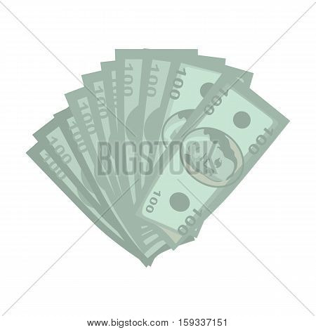 Money vector illustration in flat style design. Many of hundred dollar banknotes. Cash, income, investment, loan, savings, wages illustration for business concepts. Isolated on white background.