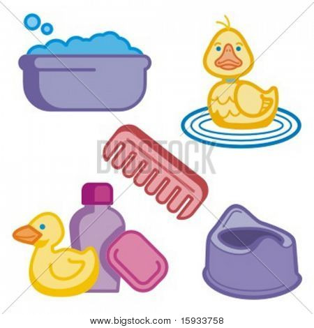 Baby icons series. Baby bathing. Check my portfolio for much more of this series as well as thousands of similar and other great vector items.