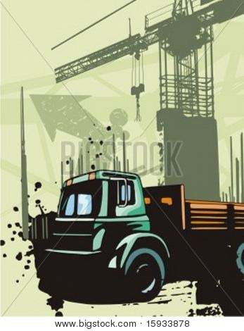 Construction truck background series. Check my portfolio for much more of this series as well as thousands of similar and other great vector items.
