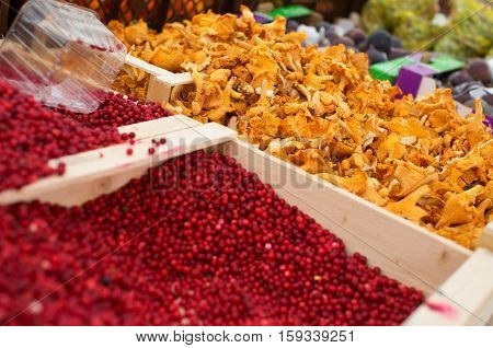 Cranberries And Chanterelles On A Market