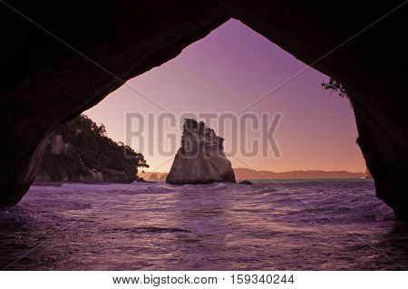 Turist destination of The Cathedral Cove, New Zealand