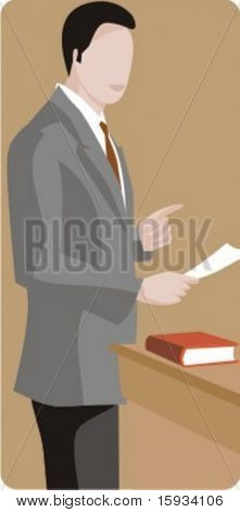 Vector profession series. Lawyer working on a case in the court. Check my portfolio for much more of this series as well as thousands of similar and other great vector items.