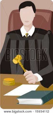 Serie de la profesión de vector. Juez en el Tribunal con un martillo. Comprobar mi cartera para mucho más