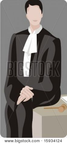 Vector profession series. Chief judge sitting in the court. Check my portfolio for much more of this series as well as thousands of similar and other great vector items.