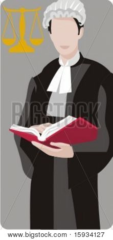 Vector profession series. Chief judge reading a book in the court. Check my portfolio for much more of this series as well as thousands of similar and other great vector items.