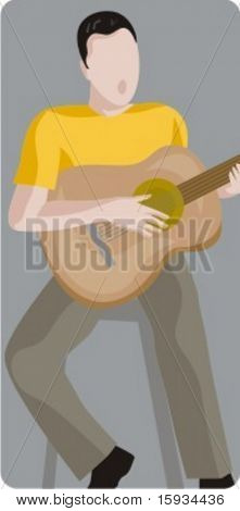 Musician vector illustration series. Singer guitarist. Check my portfolio for much more of this series as well as thousands of similar and other great vector items.