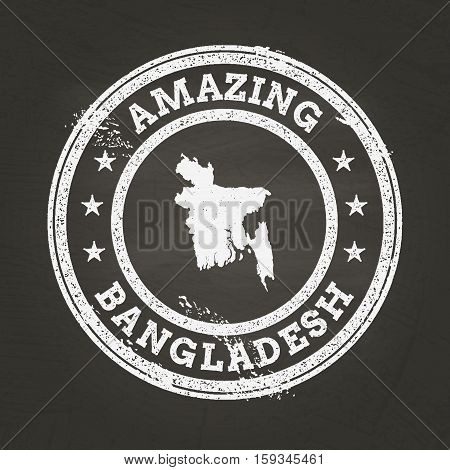 White Chalk Texture Vintage Stamp With People's Republic Of Bangladesh Map On A School Blackboard. G
