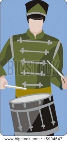 Musician vector illustration series. Military drummer. Check my portfolio for much more of this series as well as thousands of similar and other great vector items.