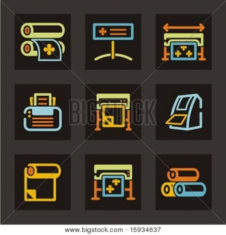 Advertising icons set. Sign making industry. Check my portfolio for much more of this  series as well as thousands of similar and other great vector items.