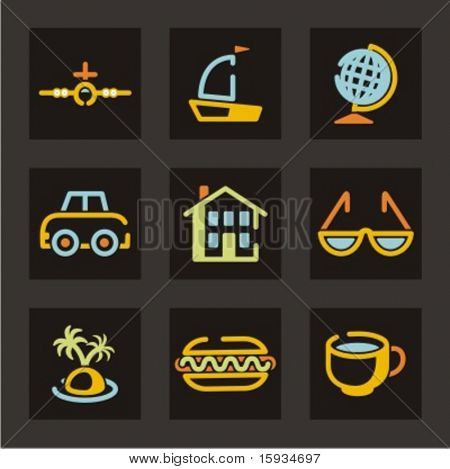 Trade and tourism icons set. Check my portfolio for much more of this series as well as thousands of similar and other great vector items.