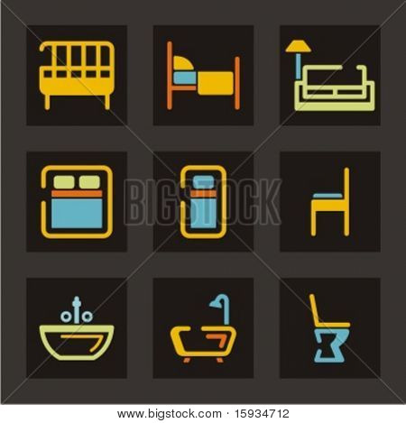 Hotel and tourism icons set. Bedroom and bathroom stuff. Check my portfolio for much more of this series as well as thousands of similar and other great vector items.