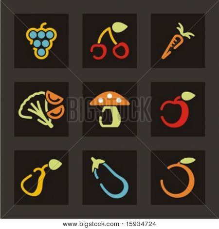 Fruits and vegetables icons set. Check my portfolio for much more of this series as well as thousands of similar and other great vector items.