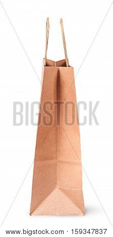 Empty open paper bag for shopping side view isolated on white background