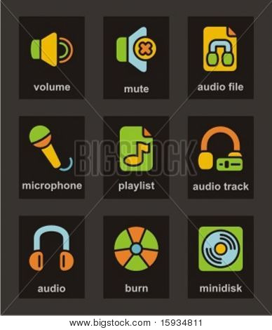 Color Icon Series. Media icons set. Check my portfolio for much more of this series as well as thousands of similar and other great vector items.