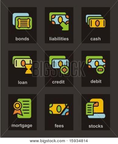 Farbe Symbol Serie. Finanzen Icons set. Überprüfen Sie mein Portfolio für viel mehr von dieser Serie sowie th