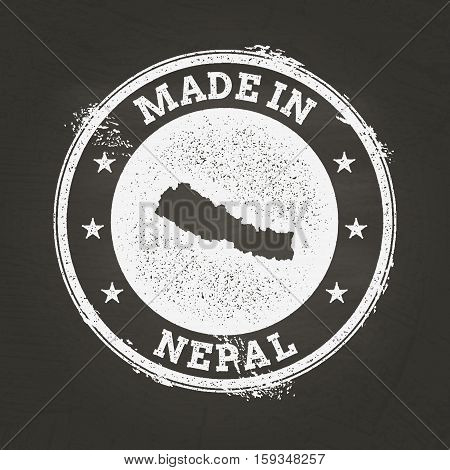 White Chalk Texture Made In Stamp With Federal Democratic Republic Of Nepal Map On A School Blackboa