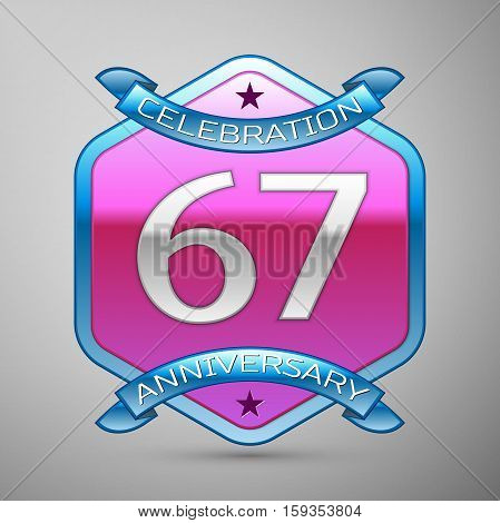 Sixty seven years anniversary celebration silver logo with blue ribbon and purple hexagonal ornament on grey background.