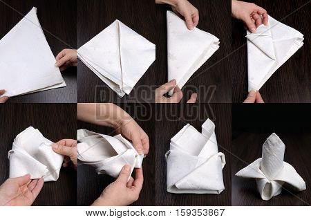 Instructions on how to fold a napkin in stages