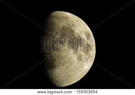 Clear gibbous moon in a dark sky