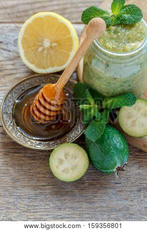 Vitamin Cocktail Of Lemon, Honey And Pineapple Guava.