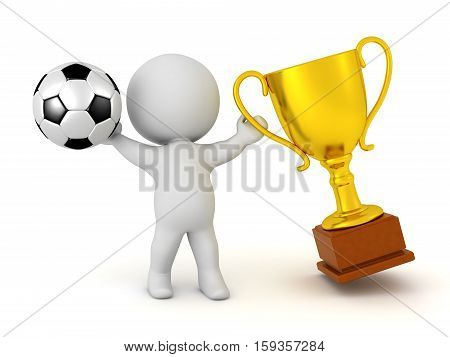 3D character holding a soccer football and a golden trophy. Isolated on white background.
