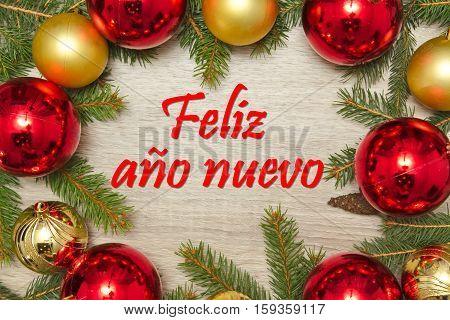 Christmas Decoration with Spanish text Feliz ano nuevo (HAPPY NEW YEAR)