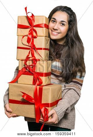 Joyful woman holding a lot of boxes with gifts isolated on a white background