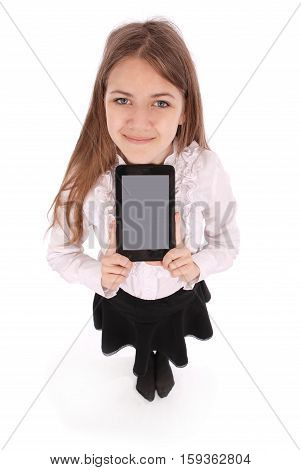 Beautiful young woman holding digital tablet and smiling isolated on white background with soft shadow