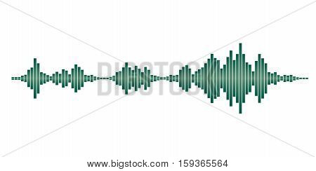 Green sound waves for party isolated on white background. Vector Illustration