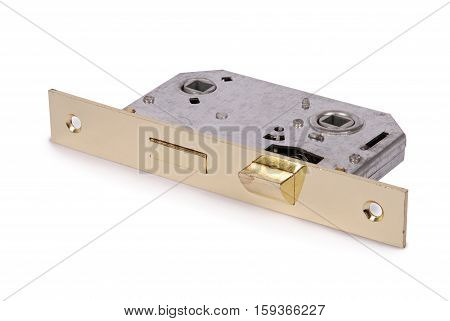 Metal door lock isolated on a white background. Closeup with clipping path