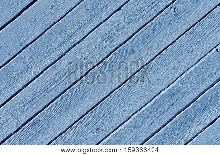Blue Color Wood House Wall Surface.