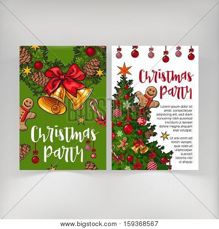 Christmas party invitation, card, poster, banner template with place for text, sketch vector illustration, front and back side. Christmas banner, poster, flyer template with bells, tree, gingerbread