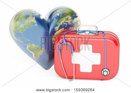 First aid kit with stethoscope and heart. World Heart Day concept. 3D rendering isolated on white background