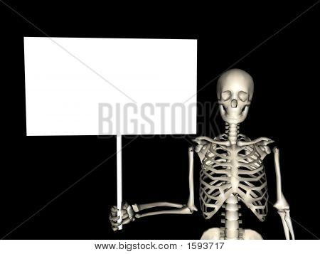 Esqueleto segurando um cartaz em branco