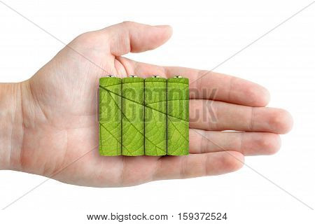 Batteries in hand - ecological energy concept