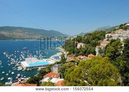 View on towns Herceg Novi and Igalo Kotor Bay Montenegro