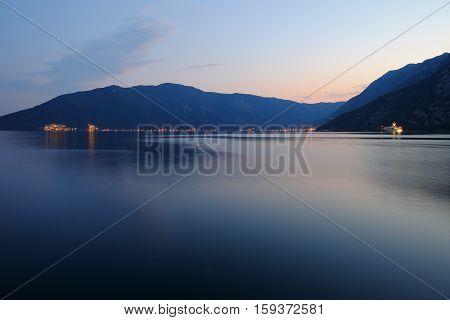Evening in Kotor Bay near of town Risan Montenegro
