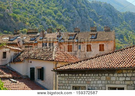 Roofs of houses in old town of Kotor Montenegro