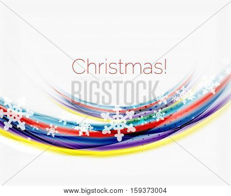 Christmas wave abstract background, curve line with snowflakes