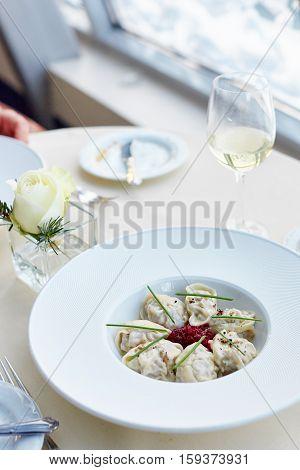 Meat Dumplings Served With Beetroot Salad