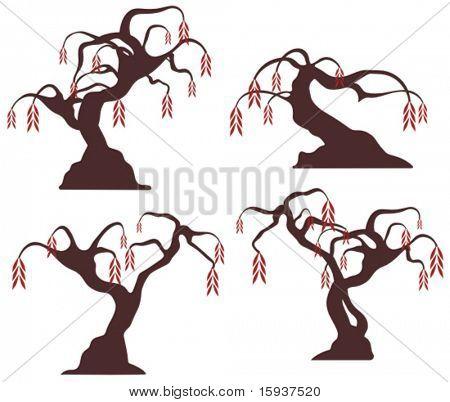 Desenhos de árvore de vetor em um estilo único. Confira meu portfólio para mais esta série, bem como thousan