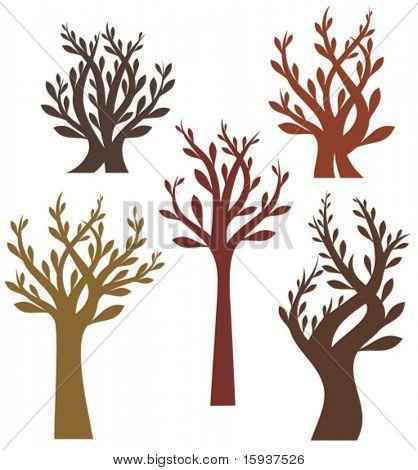 Vector Tree Designs in ein einzelnes Format. Überprüfen Sie mein Portfolio für mehr von dieser Serie sowie thousan
