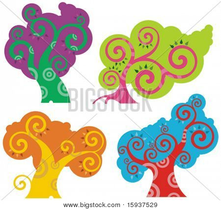 Vector colorful tree designs in a spiraltype style. Check my portfolio for more of this series as well as thousands of other great vector items.