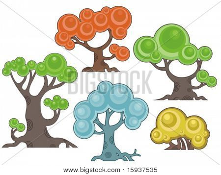 Vector tree designs in a cartoon style. Check my portfolio for more of this series as well as thousands of other great vector items.