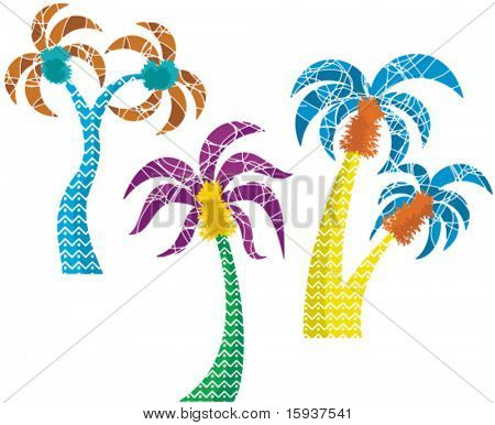 Vector palm tree designs in a funny style. Check my portfolio for more of this series as well as thousands of other great vector items.