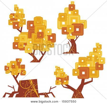 Vector goldentype tree designs. Check my portfolio for more of this series as well as thousands of other great vector items.